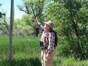 Don Bentley of Bentley Birdign Tours guiding a birding tour in Garden County, Nebraska